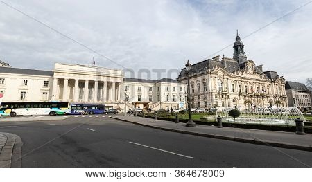 People Walking In Front Of The Palais De Justice Of Tours, France