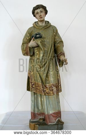 STITAR, CROATIA - SEPTEMBER 02, 2012: Saint Stephen, statue in Church of St. Matthew the Apostle and Evangelist in Stitar, Croatia