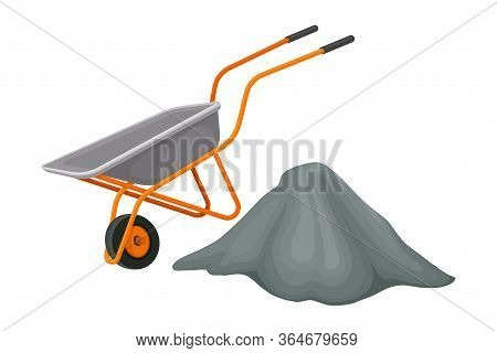 Heap Of Crushed Stone And Trolley Rested Nearby Vector Illustration