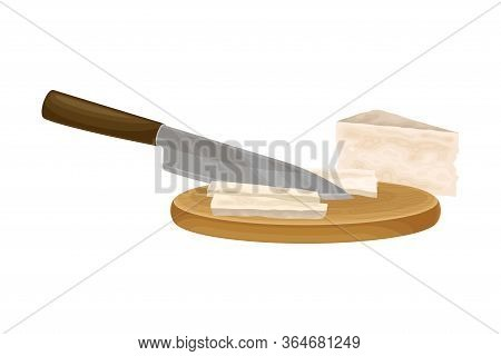 Knife Slicing Cheese On Cutting Board As Ingredient For Bruschetta Preparation Vector Illustration