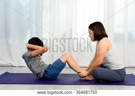 Mom Teach Yoga To Her Son