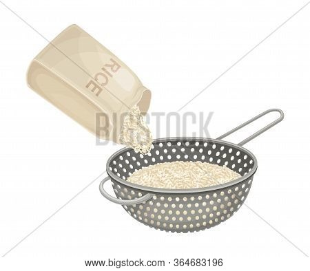 Cooking Rice Process With Grain Sieving And Washing In Strainer Vector Illustration