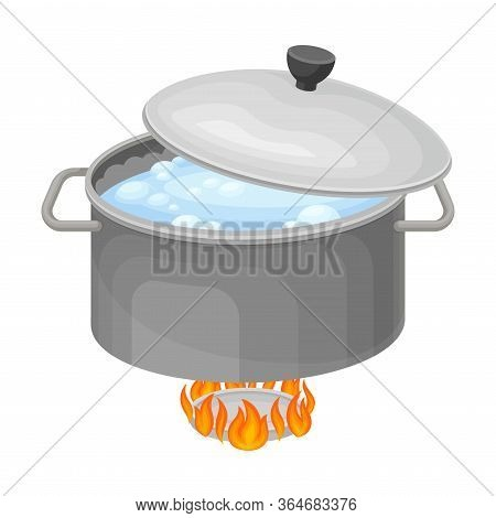 Cooking Rice Process With Saucepan On Burner With Boiling Water Inside Vector Illustration