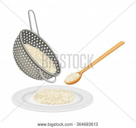 Pouring Cooked Hot Rice On Plate From Strainer Vector Illustration
