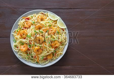 Prawn Schezwan Noodles With Vegetables. Top View, Copy Space