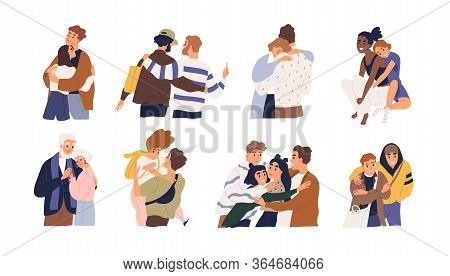 Set Of Different Cartoon People Hugging Feeling Love And Positive Emotion Vector Graphic Illustratio