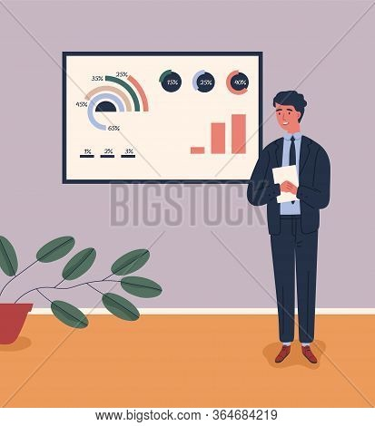 Business Male Character In Suit Talking Near Board With Chart And Diagram During Presentation Vector