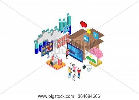 Modern Isometric Creative Process Illustration, Web Banners, Suitable For Diagrams, Infographics, Bo