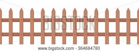 Wooden Fence Rustic Style. Picket Fence For