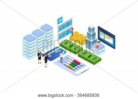 Modern Isometric Digital Investment Illustration, Web Banners, Suitable For Diagrams, Infographics,