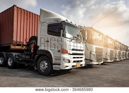 Trucks Parked Lined Up, Road Freight Industry Transport. Road Freight Industry Cargo Service, Logist