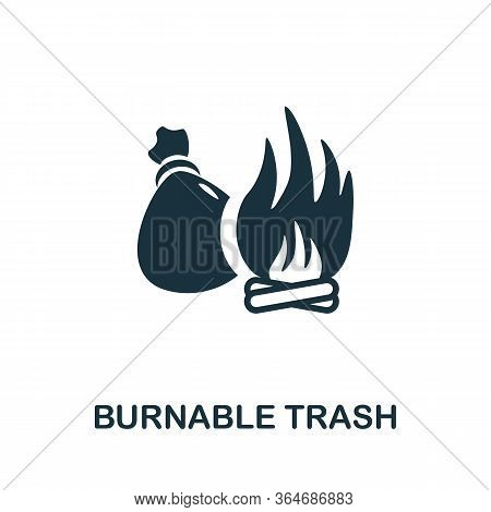 Burnable Trash Icon. Simple Illustration From Recycling Collection. Creative Burnable Trash Icon For