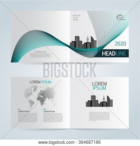 Set Of Vector Template Bi Fold Brochure With City In Blue Color