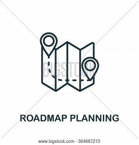 Roadmap Planning Icon From Production Management Collection. Simple Line Roadmap Planning Icon For T