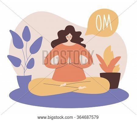 Woman Meditating In The Lotus Position And Saying Om. Young Woman Practising Meditation At Her Home.