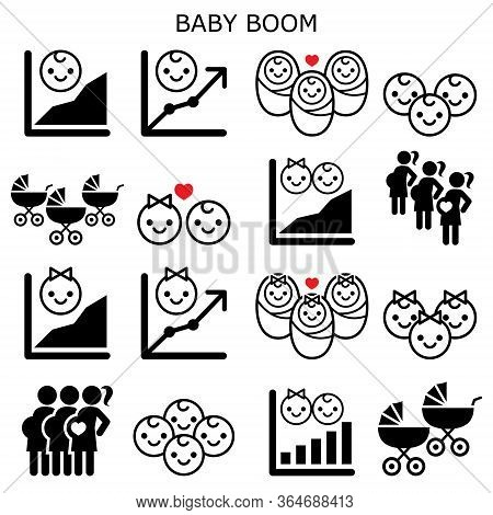 Baby Boom, Baby Boomer Generation Vector Icons Set - Increase In Fertility Rates Of Boys And Girls