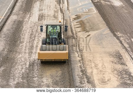 Steamroller Doing Road Construction Work In Spain
