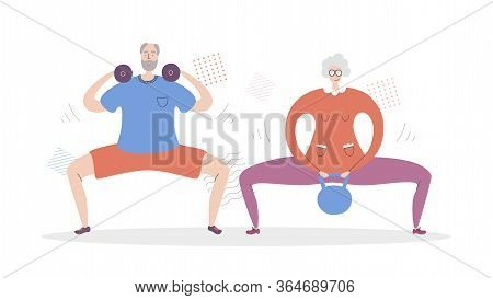 Flat Vector Illustration Senior Couple Fitness. Happy Grandfather And Grandmother Working Out Togeth