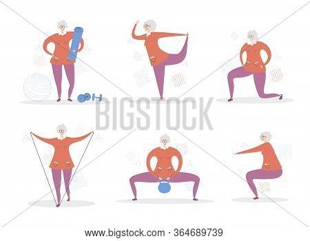 Set Of Vector Illustrations Senior Woman Fitness. Cute Grandmother Doing Exercises. Active Lifestyle