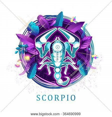 Vector Illustration Of Magic Horoscope Sign Scorpio Style Of The 60s, Bright Hippie Art Isolated On