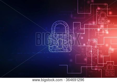 2d Illustration Safety Concept: Closed Padlock On Digital Background, Lock Security Concepts, Intern