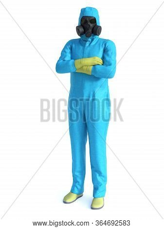 3d Rendering Of Person Wearing Blue Hazmat Suit With His Arms Crossed. Virus Corona Outbreak!