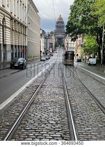 Brussels, Belgium, May 2, 2020 - A tramway, public transport, rue de la régence during the confinement period.