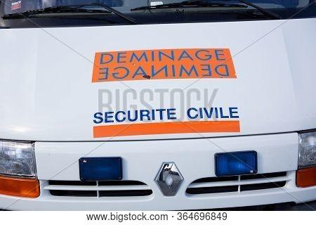 Bordeaux , Aquitaine / France - 03 03 2020 : Renault Van Securite Civile Deminage Truck French Secur
