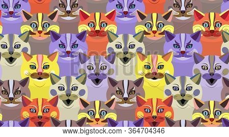 Colorful Cartoon Cats Of Different Characters. Seamless Pattern For Paper, Textiles, Bedding, Wallpa