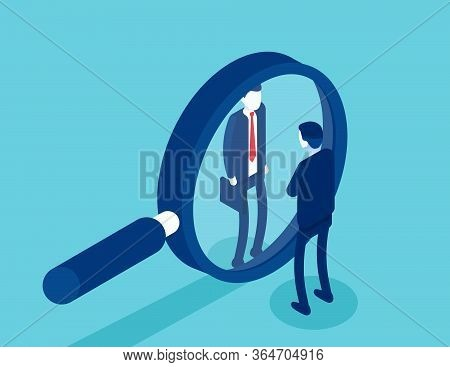 Search For Qualified Personnel. Selects Business Candidates For Work. Isometric Vector Cartoon Style