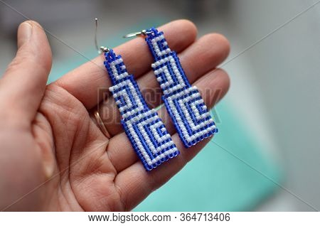 Handmade Long Dangle Earrings With Geometric Blue And White Design, Unique Design, Hand With Earring