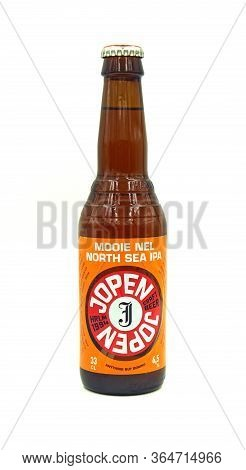 Haarlem, The Netherlands - January 10, 2019: Bottle Of Jopen Mooi Nel North Sea Ipa Against A White
