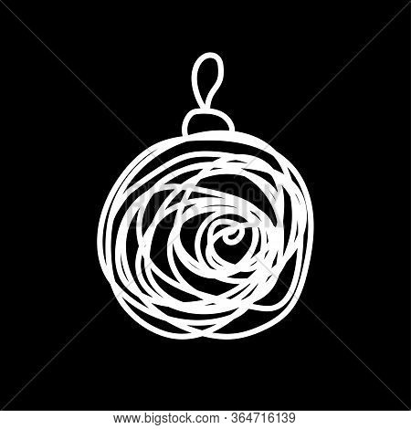 White Christmas Ball Drawn By Messy Lines On A Black Background. Laconic Symbol Of The New Year. Win