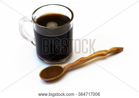 Drink From Chicory. Dry Chicory In A Wooden Spoon On A White Background. Close Up. A Substitute For