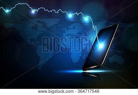 Abstract Background Of Futuristic Technology Economy Crisis Down Stock Market Graph On Smart Mobile