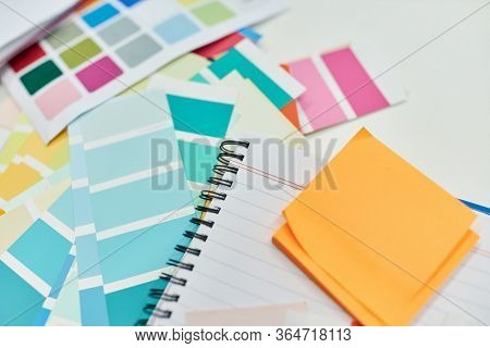 Colorful paper and materials for color design and graphic design