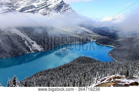 Peyto Alberta Glacier Lake And Rocky Mountains