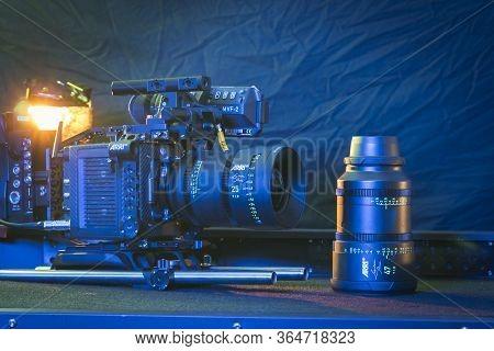 Kyiv, Ukraine - 04.17.2020: Studio Shoot Of Professional Video Camera Arri Alexa Mini Lf With Lens,