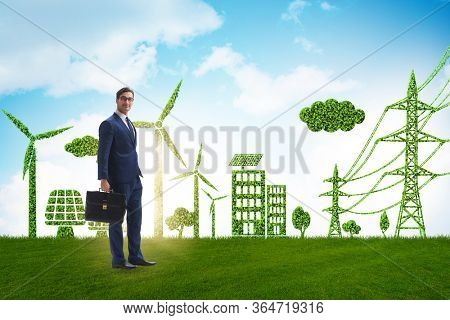 Green and ecology concept with businessman