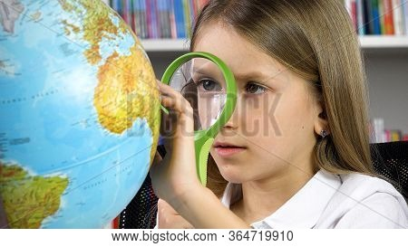 Student Kid Learning, Child Studying At Library, School Girl Reading Book In Class