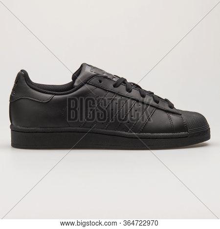 Vienna, Austria - May 27, 2018: Adidas Superstar Foundation Black Sneaker On White Background.