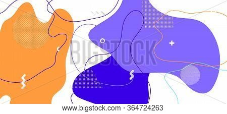 Blue Memphis Shapes. Vector Abstract Wallpaper. Futuristic Liquid Backdrop. Colorful Flow Pattern. M