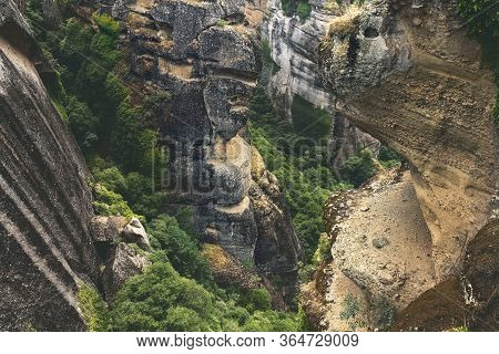 Rock Formations In The Valleys Of Meteora, Greece