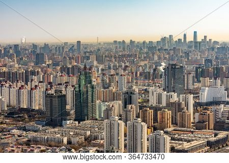 Beijing / China - February 20th 2016: Beijing City Chaoyang District And Central Business District S