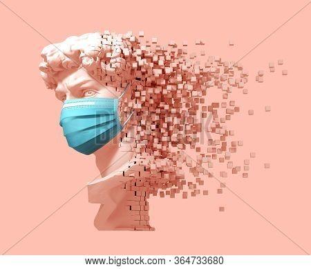 Disintegrating Head Of David In Medical Mask On Pink Background. 3d Illustration.