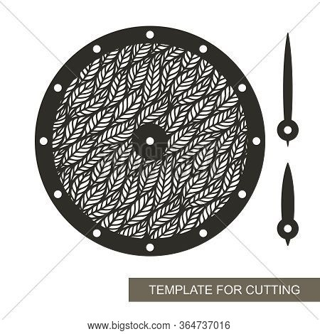 Round Wall Clock With Openwork Leaf Ornament In The Middle. Vector Silhouette Of The Dial, Hour And