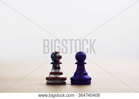 Usa Flag And Eu Flag Print Screen On Pawn Chess For Battle.it Is Symbol Of United States Of America