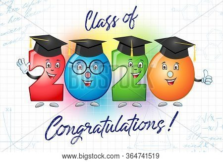 Class Of 2020 Year Graduation Banner, Awards Concept. Cute Colorful Sign, Happy Holiday Invitation C
