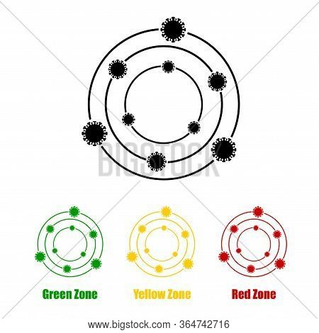 Virus Zones And Areas, Icon And Symbol Sets, Green Zone, Yellow Zone, And Red Zone, Icon For Sign Of