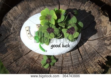 The Picture Shows A Good Luck Decoration With The Text Good Luck